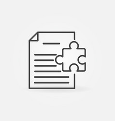 Document with puzzle line icon vector