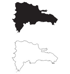 Dominican republic country map black silhouette vector