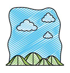 Doodle ecology mountains nature preserve landscape vector
