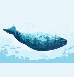 Double exposure whale and sea underwater world vector
