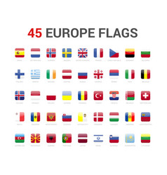 europe flags icon 45 flag rounded square vector image