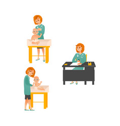 Female pediatrician examining baby set isolated vector