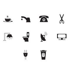 Flat black utility icon set vector