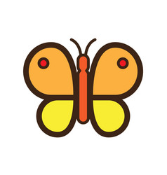 Flat color butterfly icon vector