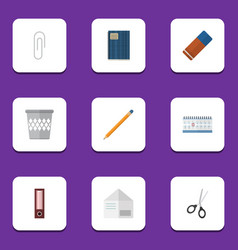 Flat icon equipment set of trashcan date block vector