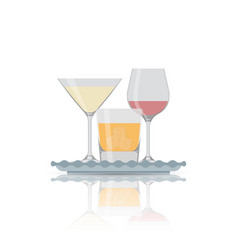 flat icon of alcohol glass vector image