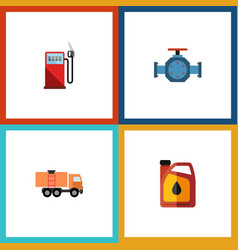 flat icon oil set of jerrycan flange van and vector image