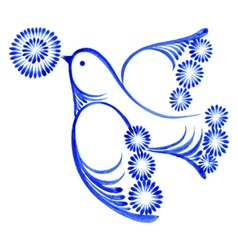 Flying bird with flower vector