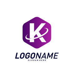 Font with planet logo design concepts letter k vector