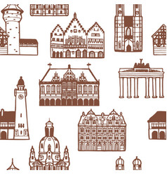 German famous landmarks pattern in hand drawn vector