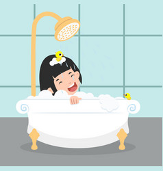 Girl characters in in the bathroom vector