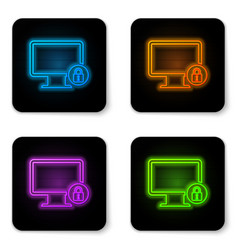 glowing neon lock on computer monitor screen icon vector image