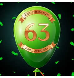 Green balloon with golden inscription sixty three vector image