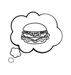 hamburger into a speech bubble black and white vector image