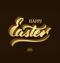 hand drawn volumetric lettering happy easter vector image