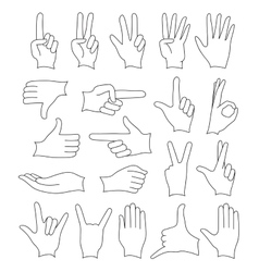 Hand signs icons set vector image