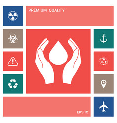 hands holding drop - protection symbol elements vector image
