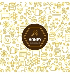 Honey wrapping background with bees and vector