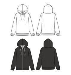 hoodie fashion flat sketch template3 vector image