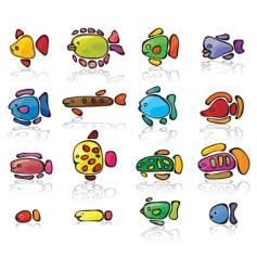 icons of fish vector image
