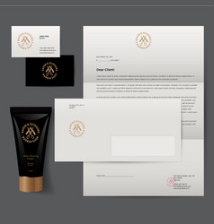 identity barbershop cosmetic tube mockup vector image