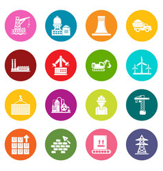 Industry icons set colorful circles vector