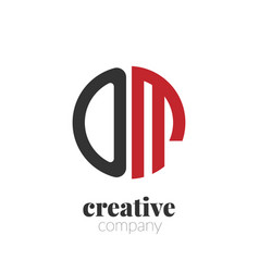 initial letter om creative elegant circle logo vector image