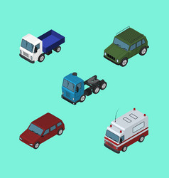 isometric transport set of car lorry truck and vector image