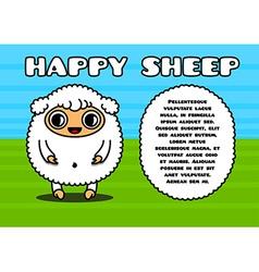 Kawaii card with sheep character vector image