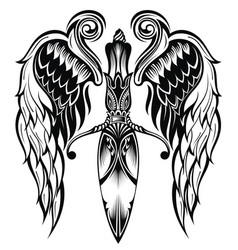 knife with wings vector image