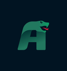 Letter a logo with snake head silhouette vector