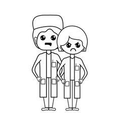 Line woman and man doctors with their uniform vector