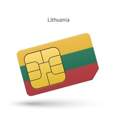 Lithuania mobile phone sim card with flag vector