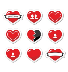 Love hearts labels set for Valentines Day vector image