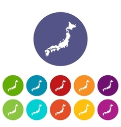 Map of Japan set icons vector image