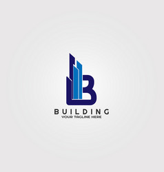 Modern building logo template with initial b vector