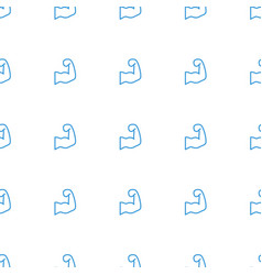 muscular arm icon pattern seamless white vector image