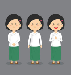 Myanmar student character with expression vector