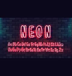 Neon futuristic hand font luminous tube alphabet vector