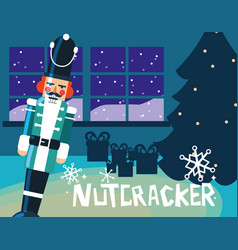 nutcracker soldier with tree christmas vector image