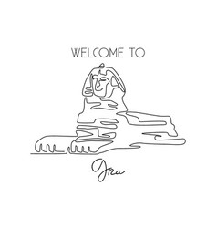 one continuous line drawing great sphinx vector image