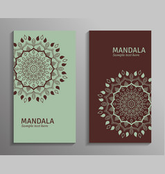 ornamental mandala flyers in green brown color vector image