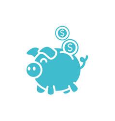 Piggy bank coins money business finance color vector