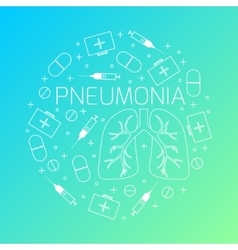 Pneumonia linear icon set vector image