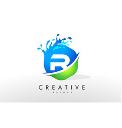 r letter logo blue green splash design vector image