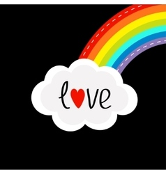 rainbow on corner and cloud in sky dash vector image