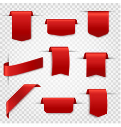 red silk labels blank discount price tags vector image