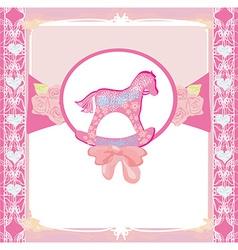 Rocking Horses - baby girl baby shower invitation vector image