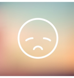 Sad face thin line icon vector image