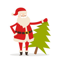 Santa claus with fresh fir tree father christmas vector